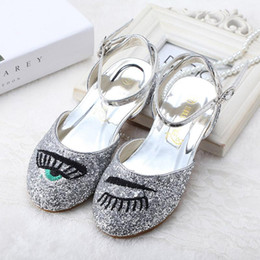 Wholesale Dance Shoes Sandals - 2016 New Girls Sandals Eyslash Design Shinning Leather Princess Shoes Thicken Shoe-pad Dance Shoes Breathable Flat Heel 2-8 Years Old