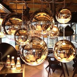 Wholesale Glass Plate Pendant Light - 15cm 20cm 25cm 40cm 50cm Tom Dixon Mirror Ball Light Pendant Lamp E27 Bulb Plated glass ball pendant light indoor lighting bar stair