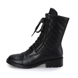 Wholesale Motorcycle Boots Zipper - Free shipping A1363 size 34~40 fashion women boots ankle boots black cool lady boots zipper round toe soft leather