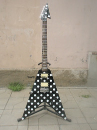 Wholesale Red Maple Standard Electric Guitar - Wholesale-Randy Rhoads Guitar Harpoon Polka Dot Flying V standard electric Guitar Replica Collectible