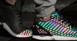 Wholesale Rainbow Sport - ZX Flux Xenopeltis Snake Reflective,Xenopeltis Snake RUN shoes sports running Rainbow Glowing shoes Size 36-44