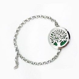 Wholesale Invisible Life - 316L Stainless Steel Aromatherapy Bracelet Tree of life Essential Oil Diffuser Magnetic Bracelets For Women Stainless Steel Jewelry