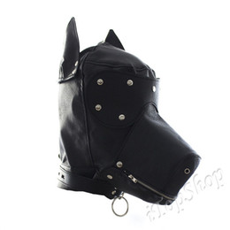 Wholesale Leather Gimp Hoods - Costume Party Leather Gimp Dog Puppy Hood Full Mask Bondage Fetish Halloween UK #R501