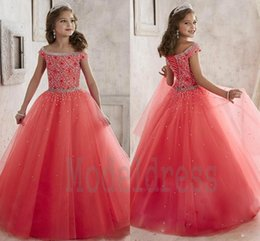 Wholesale New Model Dresses For Kids - New Little Girl's Pageant Dresses 2016 Off Shoulder Crystal Beads Coral Tulle Formal Party Dress for teen Kids Flowers Girls Gowns A1796