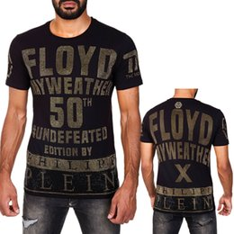 Wholesale Top Fashion Shirt For Man - 2018 New Arrivals Fashion men brand clothing Floyd Mayweather 50th victory rhinestone T-shirt male top quality 100% cotton T shirt for men
