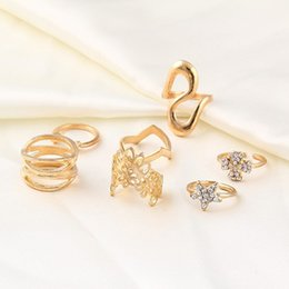 Wholesale 14k Gold Stacking Rings - Hot Fashion Bohemian Wedding Jewelry 7pcs   Set Hollow Flower Star Rhinestone Finger Stacking Rings Clover Rings Set Wholesale D4S