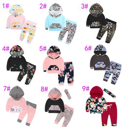 Wholesale leopard print newborn baby clothes - 9 Styles Newborn Spring Autumn INS Baby Clothes Floral Leopard Striped Printing Hoodie+Long Pants 2Pcs Children Striped Outfits Sets free s