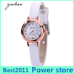 Wholesale Hot Cheap Leather Dresses - Yuhao Brand Hot Sale Casual Gold Round Women Fashion Watch Dress Female Cheap Jewelry Electronic Quartz Wristwatch XR1864