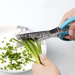 Wholesale Scissors Herbs - Herb Scissors 5 Blade Stainless Steel Herb Scissors Multi Blade Herb Scissors Purple Blue Green 3 colors 144pcs lot 160318#