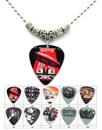 Wholesale Silver Guitar Picks - LED Zeppelin Guitar Pick Pendant Tibetan Silver Necklace 2.4mm Diam Bead Chain Necklace