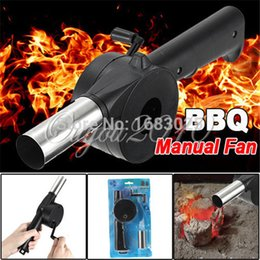 Wholesale Hand Crank Bellows - New Outdoor Cooking BBQ Fan Air Blower For Barbecue Fire Bellows Hand Crank Tool Picnic Camping BBQ