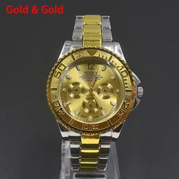 Wholesale Black Metal Strap Watches - Fashion Casual ROSRA men's boy's 3 dials style silver gold steel metal strap Bracelet Wrist Watch 808
