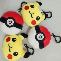 Wholesale Key Ring Mobiles - New Poke Pikachu Elf Ball Plush Key Rings Cartoon Action Game Figure Pendant Keychain Cell Mobile Phone Stuffed Keychain Toys Gifts