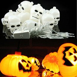 Wholesale Christmas Lantern Led - Halloween Light 16 LED 2.5m Home Bar Party Decoration Pumpkin Colorful LED String Light Fairy lights Festival Lamp Skeleton lantern lamp