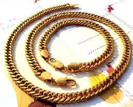2019 свадебные ювелирные наборы 24k золото Изысканные ювелирные изделия из желтого золота благородный 24 K желтое твердое золото GF ожерелье цепь браслет концентрированные наборы дешево свадебные ювелирные наборы 24k золото