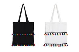Wholesale Zipper Side Bag - Color tassel Simple Canvas Shoulder Bag Black and White color bags two side same bags fashion students school bags shopping Bags handbag