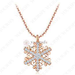 charme de cristal de floco de neve de ouro Desconto Yoursfs floco de neve projeto da forma colar de cristal 18 k rose banhado a ouro pingente de colar de declaração para as mulheres de noivado casamento charme jóias