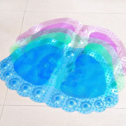 Wholesale pvc bath mats - PVC Bath Mat Foldable Sucker Massage Big Foot Shape Bathroom Pad Non Toxic Toilet Kitchen Suction Shower Mats Popular 5 25ld B R