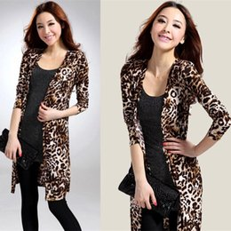 Wholesale Printed Tunics Women - Wholesale- High Quality Leopard Print Long Sleeve Cape Tunic Cardigan Women Tops Shawl Coat