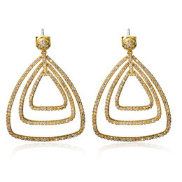 Wholesale Small Plants - Remarkably! Gold plate With All White Small Cubic Zirconia,Triangle Shape Dangling Earrings