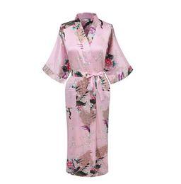 Al por mayor-Venta caliente Rosa Chino hembra Satin Robe Impreso Floral Kimono Yukata Verano Casual camisón Pijama Talla S M L XL XXL XXXL A-019 desde fabricantes