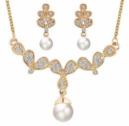 Wholesale China Costume - Gold Pearl Crystal Earrings Rhinestone Pendant Necklace Bridal Wedding Engagemet Jewerly Sets Wing Butterfly Costume Jewerly For Women