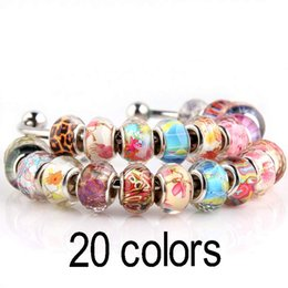 Wholesale Pink Glass Faceted Fit Bead - 20 color crystal beads charming flower faceted Murano glass beads fit European charm bracelet DIY Pandora jewelry