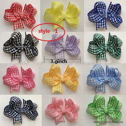 Wholesale School Hair Bows - 9 style available !Baby Girl Checkered Hair Bows Butterfly Gingham School Checked Hair Bow with Clip Hair accessories 50pcs