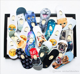 Wholesale Gun Socks - 20 Design 3D emoji animal Boat socks DHL kids women men hip hop socks cotton skateboard printed gun tiger skull short socks B