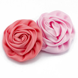 """Wholesale Rolled Fabric Rosette Flowers - 30pcs  Lot 3 """"Soft Matte Satin Silk Flowers For Kids Children Hair Accessories Artificial Rolled Rosette Fabric Flowers For Headbands"""