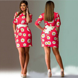 Wholesale Cheap Empire Waist Mini Dresses - Cheap wholesale big yards dress Europe and the United States printing flower fashionable dress 6 xl waist dress 7 color code number 3