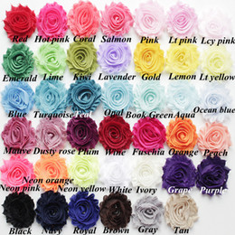 Wholesale Shabby Rose Trims - 41colors 2.5inch soild shabby chiffon flower for baby headband, shabby rosette flower ,regular shabby rose trim flower by yard ,HF001