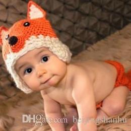 Trajes de animales hechos a mano online-Set Los accesorios animales hechos a mano de la fotografía del traje de la gorrita tejida de la muchacha del bebé recién nacido hecho a mano del bebé cupieron los casquillos 0-6Month de los sombreros