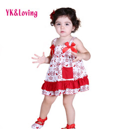 Wholesale Swing Sets Babies - Wholesale- Xmas Girls Swing Top Set Baby Clothing Set Free Swing Sets Top Ruffle Bloomers with Shoes+Headband Kids Clothes 4pcs set Z123S