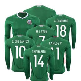 Wholesale Long Sleeve Nylon Man - Whosales Camisa Mexico 2016 Soccer Jersey,Mexico Long Sleeve Jerseys 2017 CHICHARITO G DOS SANTOS Custom Football Shirt Uniforms A++Quality