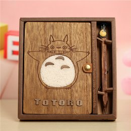 Wholesale Novelty Sheets - Wholesale- Novelty Cartoon Totoro Planner Notebook Cute Wooden Chinchilla Diary Note Book Gifts School Office Stationery Supplies