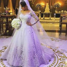 Wholesale Wedding Dress Back Tail - 2018 New Plus Size Long Sleeve Wedding Dresses Ball Gowns Lace Long Tail China Bride Bridal Gowns Robe De Mariee 2016 Wedding Gowns