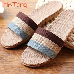 Wholesale Unisex Bedroom Slippers - Wholesale- Hot Home Women Men Adult Slippers Summer Linen Comfortable Flax Knitted Striped Bedroom Slipper Couple Woman Man Indoor Shoe