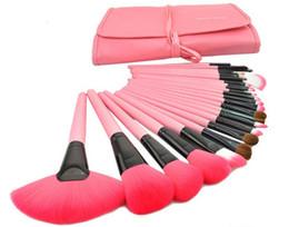 Wholesale 24 Brushes Pink - Professional 24 PCS Makeup Brush Set Make-up Toiletry Kit Wool Brand Make Up Brush Set Case