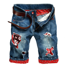 Wholesale Male Denim Shorts - New Fashion Men Jeans Casual Denim Cartoon Shorts Summer Patchwork Punk Distressed Hole Mid-Length Brief Male Shorts Vintage Plus Size
