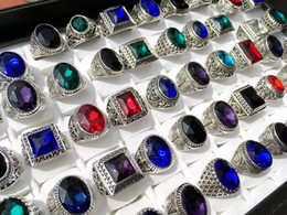 Wholesale Womens Vintage Ring - Wholesale 50pcs Mix lot Antique Silver Rings Mens Womens Vintage Gemstone jewelry party ring weeding ring free shipping random style