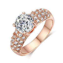 Wholesale Fair Gift - Double Fair Engagement Wedding Rings Cubic Zirconia Silver Rose Gold Color CZ Stone Ring Jewelry For Women anel Wholesale