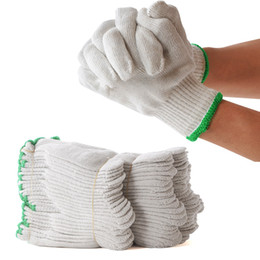 Wholesale Glove Material - A Pack Of 12 Pieces Cut Resistant Gloves Cotton Yarn Material For Workplace Non-disposable White Safety Gloves 1000g