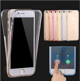 Wholesale Pink Body Protector - 360 Degreen Full Body Soft TPU Case Front Back Cover Touch Clear Protector for iphone X 8 7 6 6S plus Samsung galaxy S8 plus S7 S6 edge