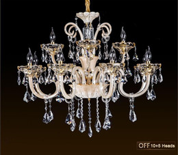 Wholesale candle pendant lighting - K9 crystal chandeliers candle crystal ceiling lamp luxurious Ceiling light fixture for living room dining room bedroom indoor light
