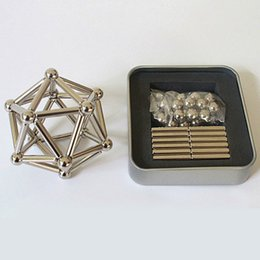 Wholesale Neodymium Bar - Magnetic Puzzle Neodymium Magnetic rods 36pcs D4mm x L23mm magnetic bars + 27pcs D8mm steel balls OTH627