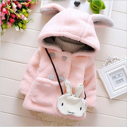 Wholesale Girls Quality Wool Coat - High quality 2017 new winter warm wool overcoat hooded princess baby coats for girls thicken solid cute rabbit ears pattern 0-2T