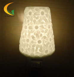 Wholesale Night Lamp Ceramic Wholesale - Wholesale- Free shipping 110V 220V ceramic tradition retro bedside lamp energy saving lamp night light aroma Nightlight bulb luminaria