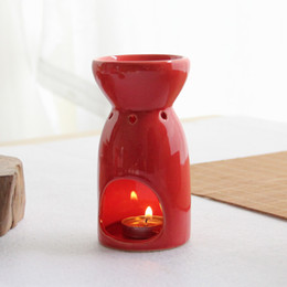 Wholesale Candle Aroma - New Arrival Red Ceramic Oil Burner Aroma Burner Candle Aromatherapy Furnace Home Decoration Christmas Gifts DEC054