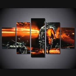 Wholesale Battlefield Poster - 5 Pcs Set Framed Printed battlefield soldiers tanks Painting Canvas Print room decor print poster picture canvas Free shipping ny-4585